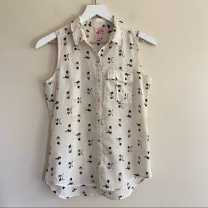 Dolled Up by F.A.N.G Cat Sleeveless Button Down